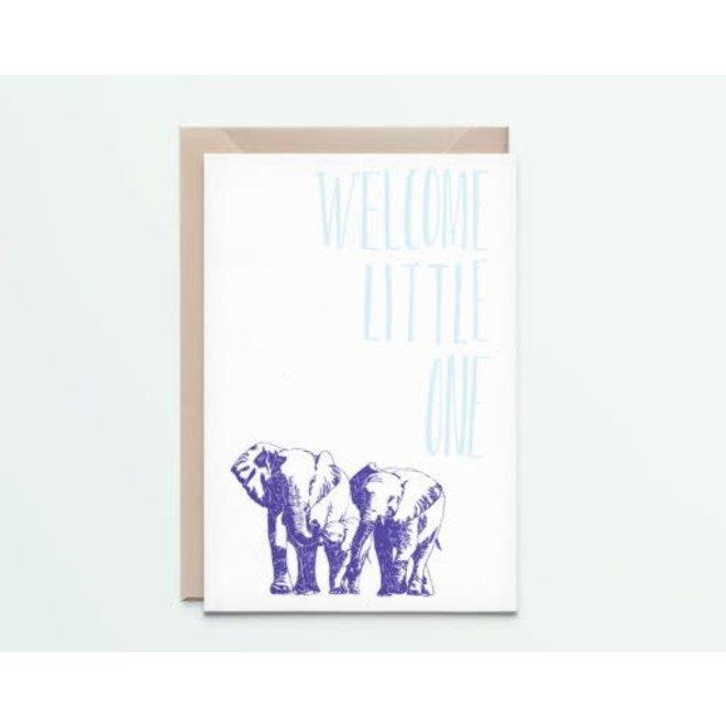 """Kathings - Postkaart - Animals  """"Welcome Little One"""" Olifanten"""