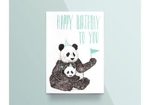 "Kathings Kathings - Postkaart - Animals  ""Happy Birthday To You"" Panda's"