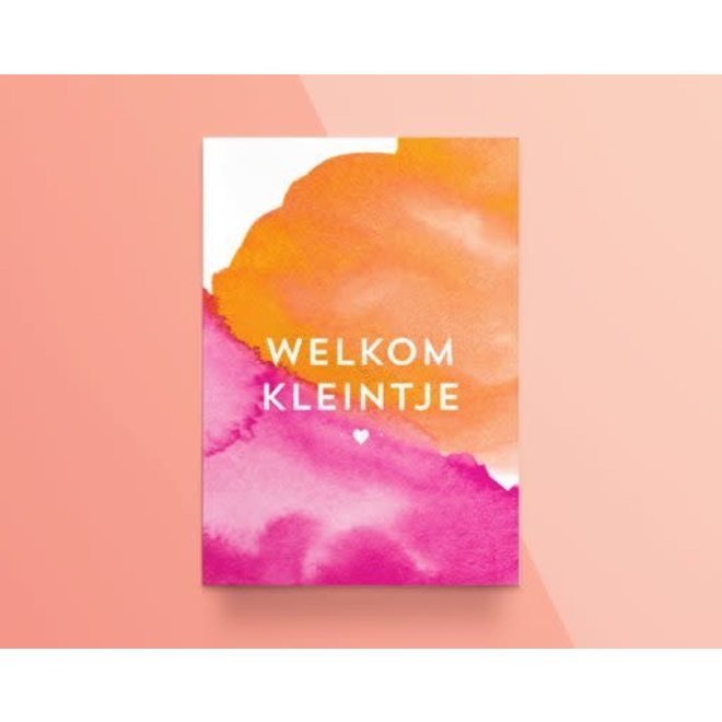 "Kathings - Postkaart - Colors ''Welkom Kleintje"" Roze"