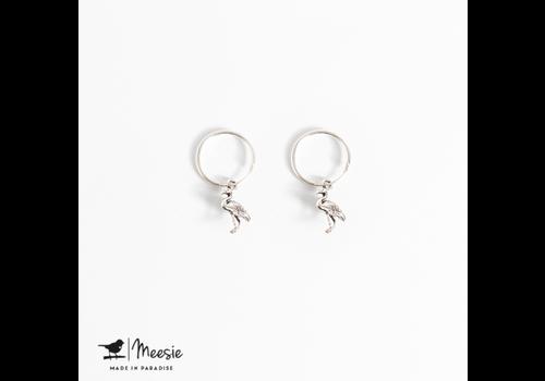 Meesie&Bintjes MEESIE&BINTJE - Oorbellen Bedel - Flamingo (Zilver)