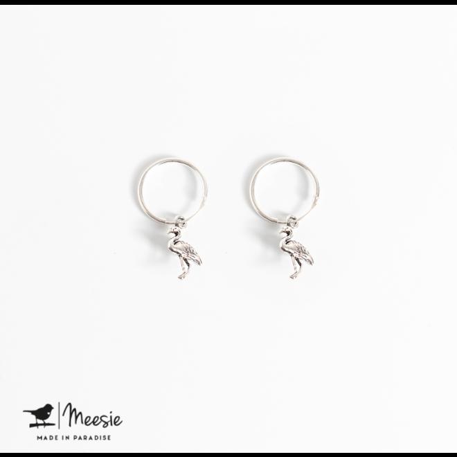MEESIE&BINTJE - Oorbellen Bedel - Flamingo (Zilver)