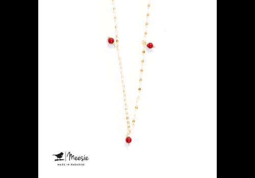 Meesie&Bintjes MEESIE&BINTJES - Halsketting - Rode Koraal (Goud op Zilver)