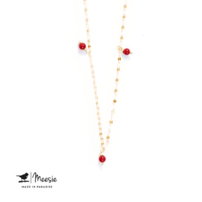 MEESIE&BINTJES - Halsketting - Rode Koraal (Goud op Zilver)