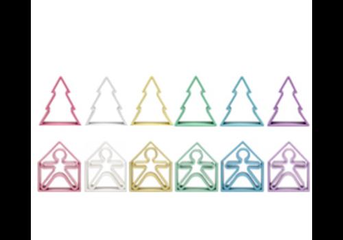 Dëna DENA - 6 Kids + 6 Trees + 6 Houses   18 stuks - Pastel
