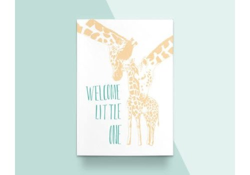 "Kathings Kathings - Postkaart - Animals  ""Welcome Little One"" Giraf"
