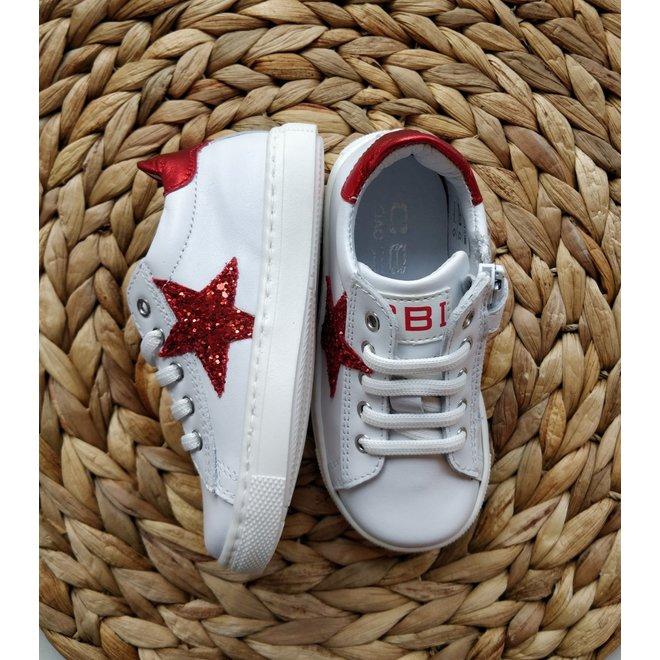 CIAO - Sneakers - Wit met ster Rood (Maat 22 tem 26)