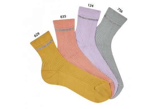 CONDOR CONDOR -  Korte Sokken met Glitter streep - Mustard/Peony