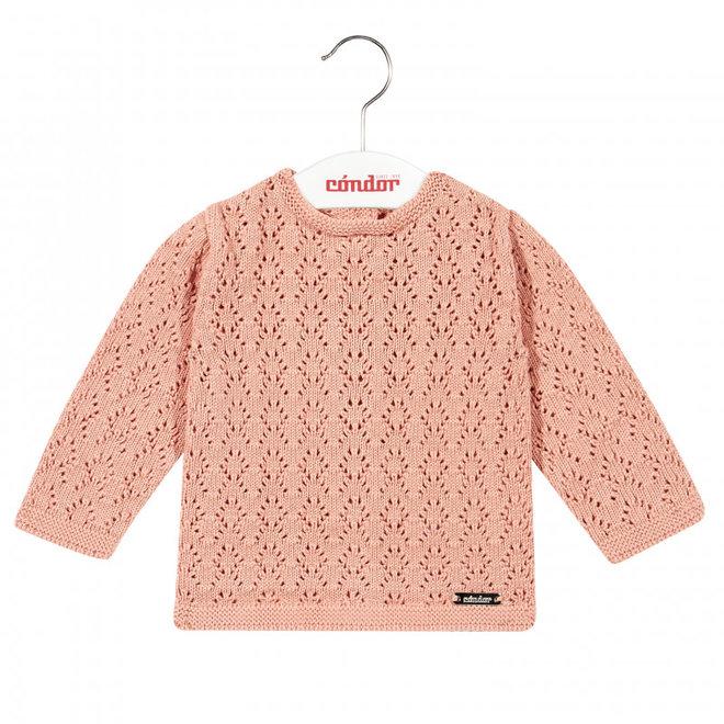 CONDOR - Sweater met open patroon - Peony (635)