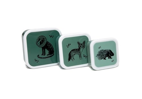 PETIT MONKEY - Snackbox - Black Animals Green