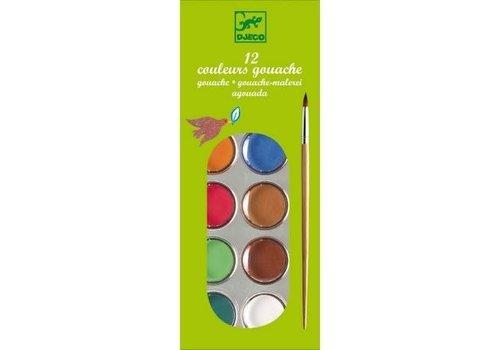 Djeco DJECO - Creatief met Verf - 12 kleuren in doos