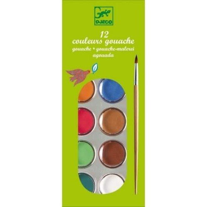 DJECO - Creatief met Verf - 12 basis kleuren