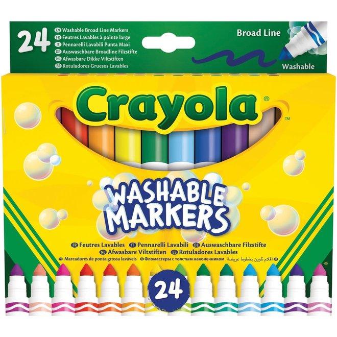 CRAYOLA - Viltstiften - Afwasbare Viltstiften met Kegelpunt (24stuks)