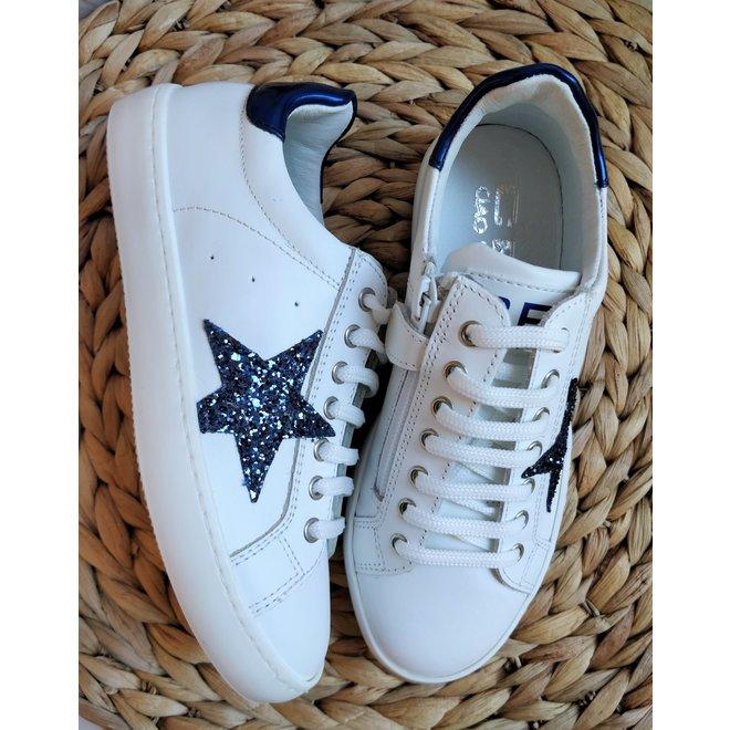 CIAO - Sneakers - Wit met ster Blauw ( Maat 27 tem 34)