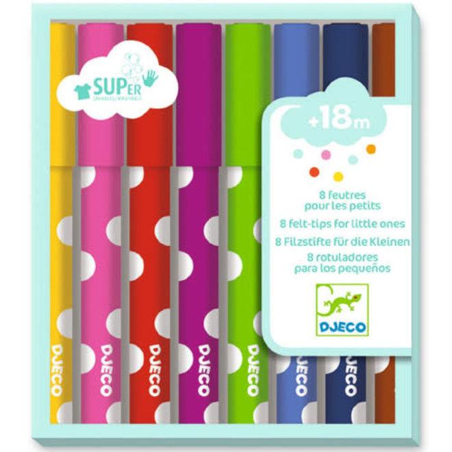 DJECO - Eerste Viltstiften - 8 basiskleuren +18m