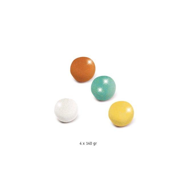 DJECO - Plasticine - Glitter Geel/Aqua/Oranje/Wit