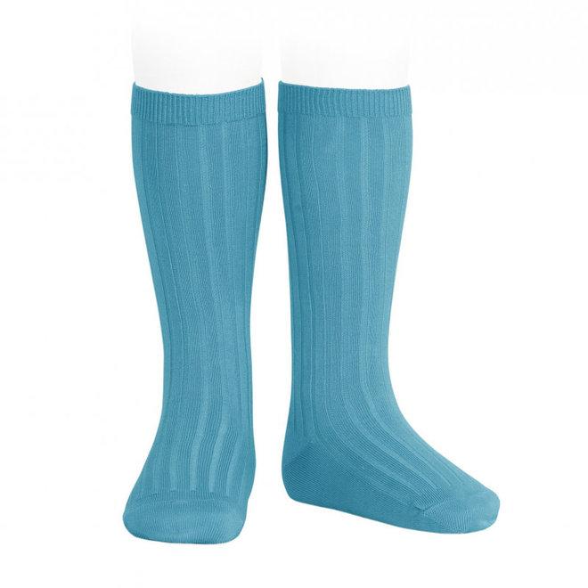 CONDOR - Kniesokken - Turquoise (474)