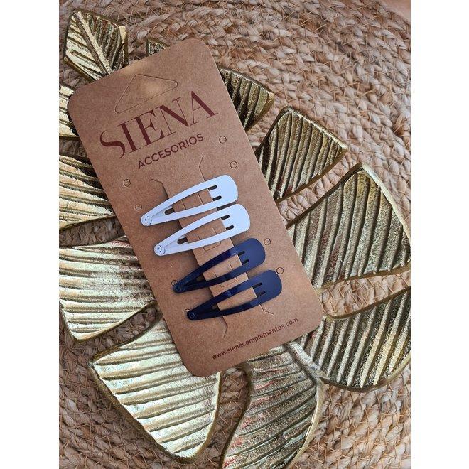 SIENA - Clic Clac Hairclip - Licht Blauw / Marine