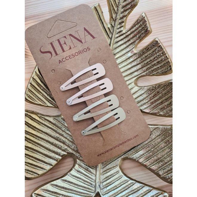 SIENA - Clic Clac Hairclip - Beige/Olijf