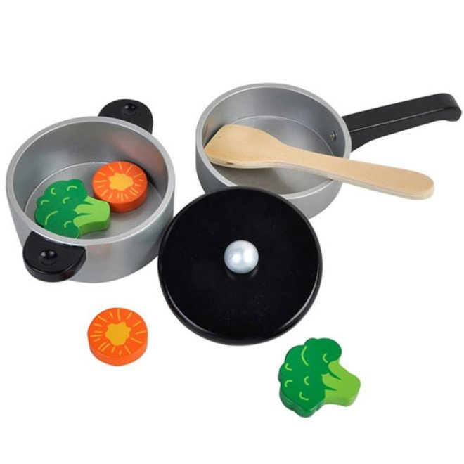 MAMAMEMO By Astrup - Houten Pot&Pan  incl groenten en spatel