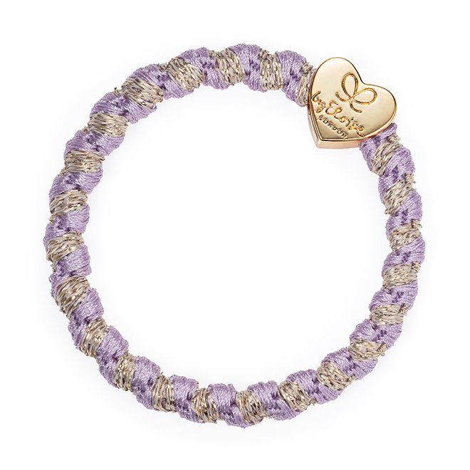 BY ELOISE - Haarelastiek - Woven Gold Heart Lavender