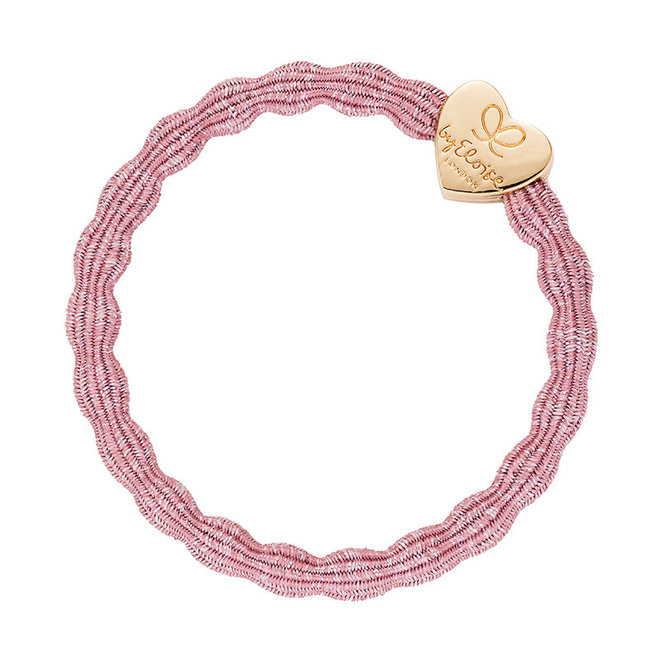 BY ELOISE - Haarelastiek - Metallic Gold Heart Rose Pink
