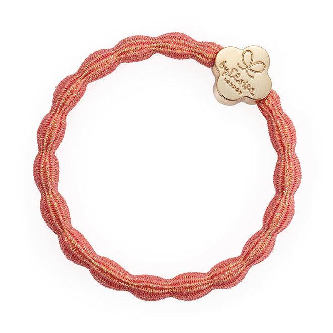 BY ELOISE - Haarelastiek - Metallic Gold Quatrefoil Coral Pink