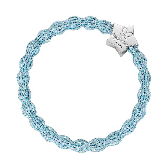 BY ELOISE - Haarelastiek - Metallic Silver Star Light Blue