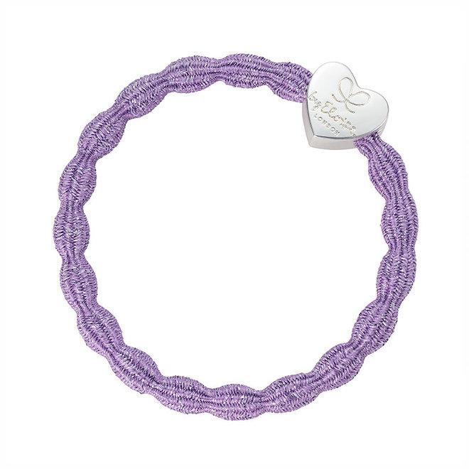 BY ELOISE - Haarelastiek - Metallic Heart Lilac