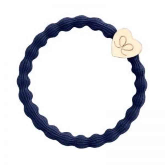 BY ELOISE - Haarelastiek - Gold Heart Navy Blue