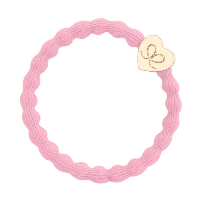 BY ELOISE - Haarelastiek - Gold Heart Ballet Pink