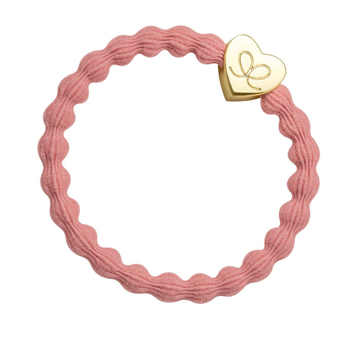 BY ELOISE - Haarelastiek - Gold Heart Coral