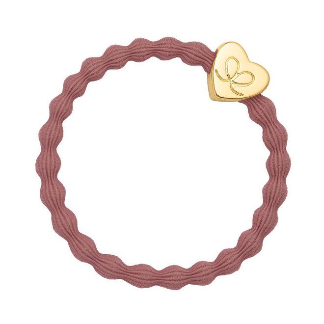 BY ELOISE - Haarelastiek - Gold Heart Champagne Pink