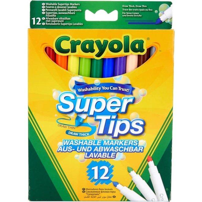 CRAYOLA - Viltstiften - Afwasbare Viltstiften Super Tips (12stuks)