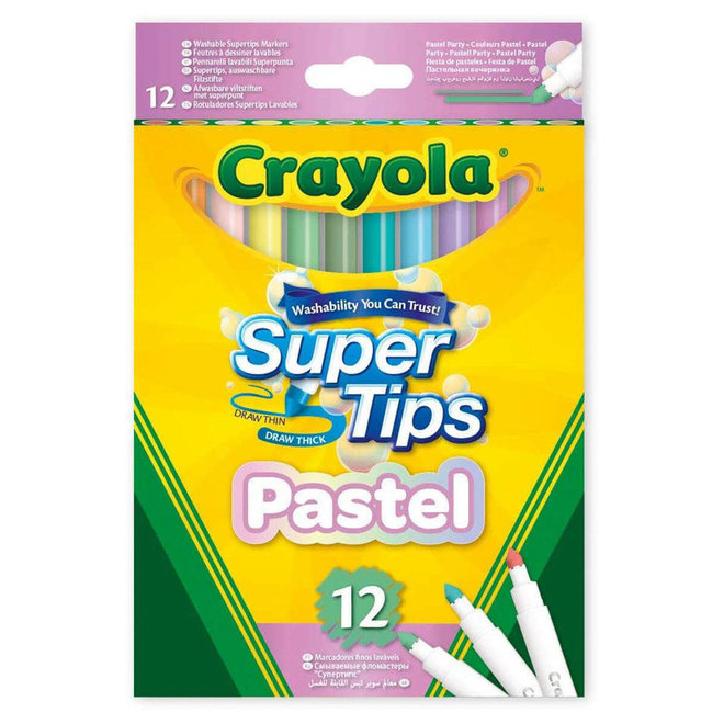 CRAYOLA - Viltstiften - Pastel Viltstiften Super Tips (12stuks)