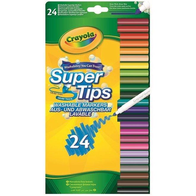 CRAYOLA - Viltstiften - Afwasbare Viltstiften Super Tips (24stuks)
