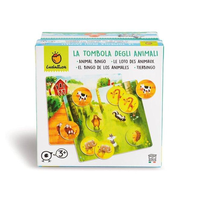 LUDATICCA - Gezelschapsspel  - Bingo&Memo  Dieren ( 48stuks) 3+
