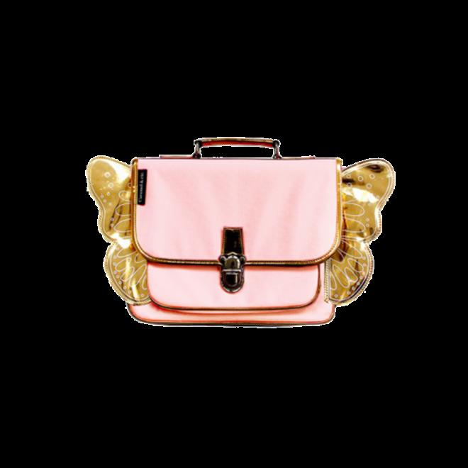 CARAMEL&CIE - Kleuter Boekentas -  Roze met gouden vleugels
