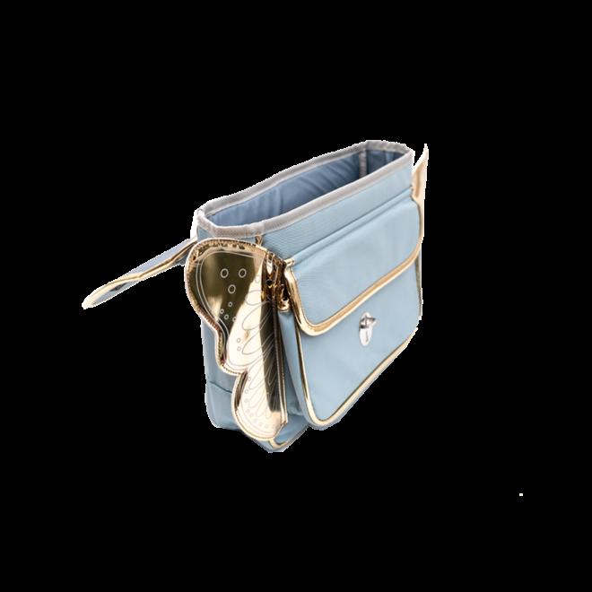 CARAMEL&CIE - Kleuter Boekentas -  Lichtblauw met gouden vleugels