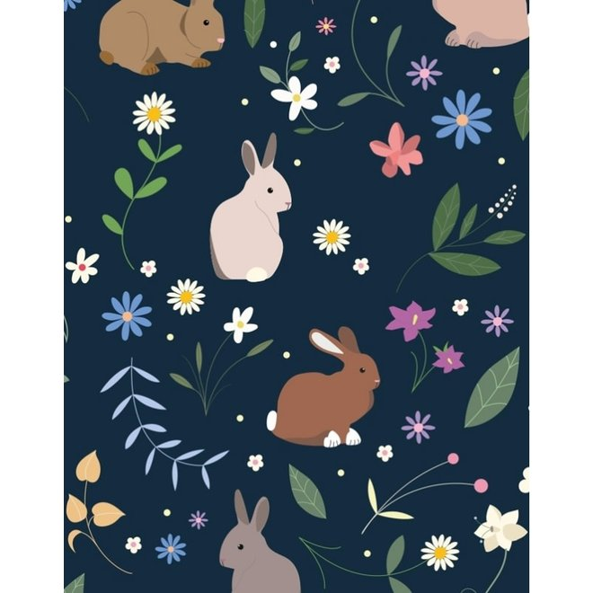 CARAMEL&CIE - Boekentas - Blauw met konijnenprint (Maxi)