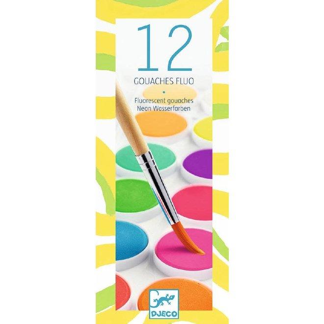 DJECO - Creatief met verf - 12 Fluor kleuren
