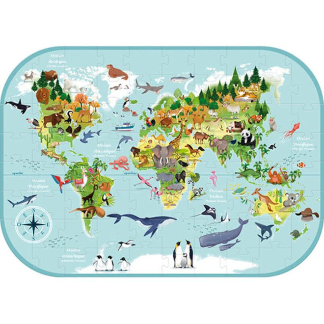 AVENUE MANDARINE - Puzzel - Wereldkaart ( 76stuks) 6+