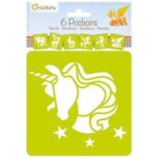 AVENUE MANDARINE - Sjablonen - Unicorn (6stuks)