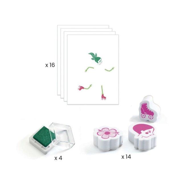 DJECO - Creatief met Stempels - Flower Girls 7+