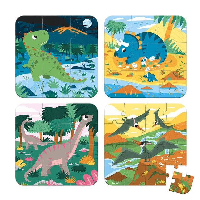 JANOD - Eerste Puzzel - Dinosarus (Vierdelig) 3+
