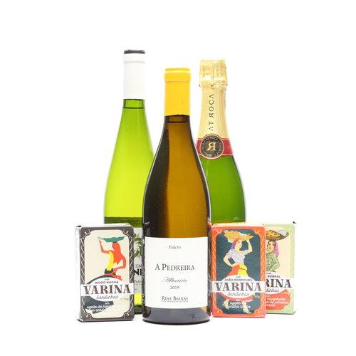 Borrelpakket met 3 flessen Spaanse wijn & luxe sardientjes