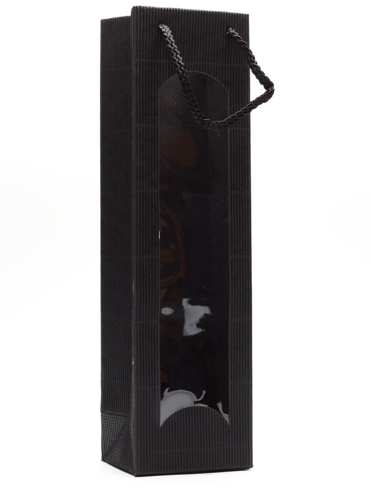 Tasje 1-fles - Karton Zwart met venster
