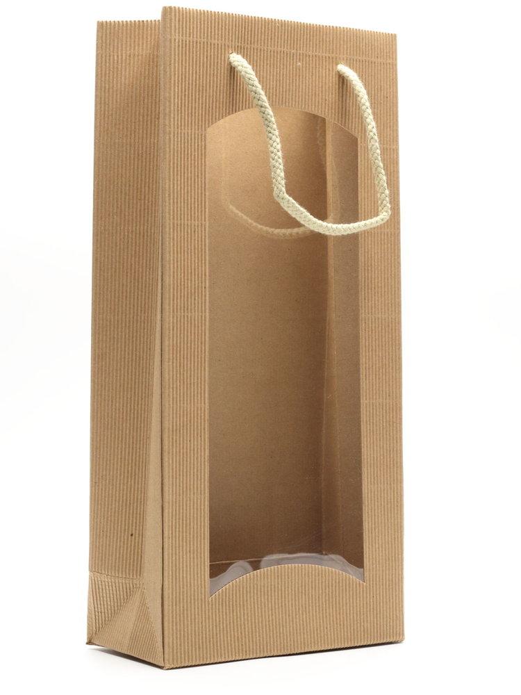 Tasje 2-fles - Karton Naturel met venster