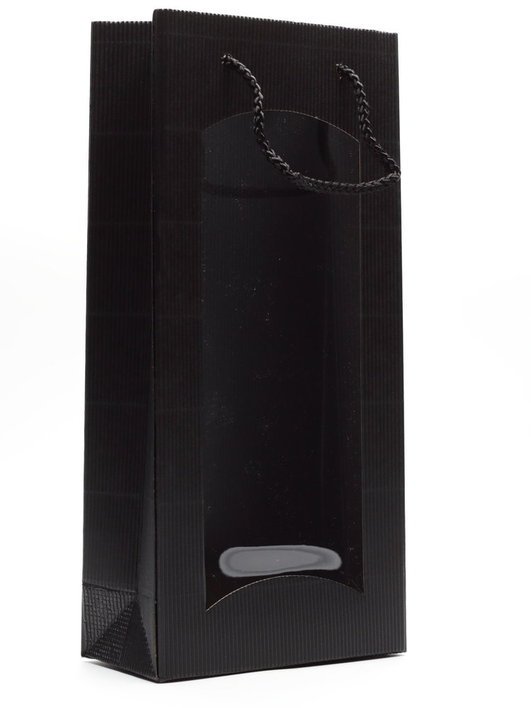 Tasje 2-fles - Karton Zwart met venster