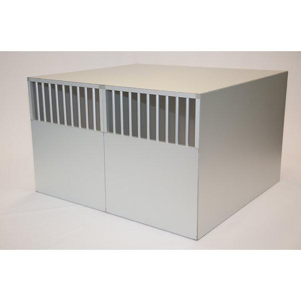H Pro aluminium auto bench model 3  95/100/67  met spijlen  in de achterwand
