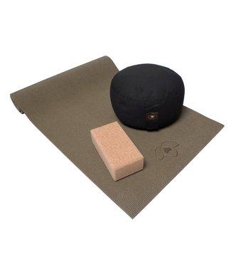 Lotus Starterspakket yogamat, meditatiekussen en blok - groen